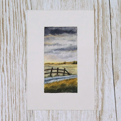 Scottish Borders harvest landscape at sunset watercolour painting