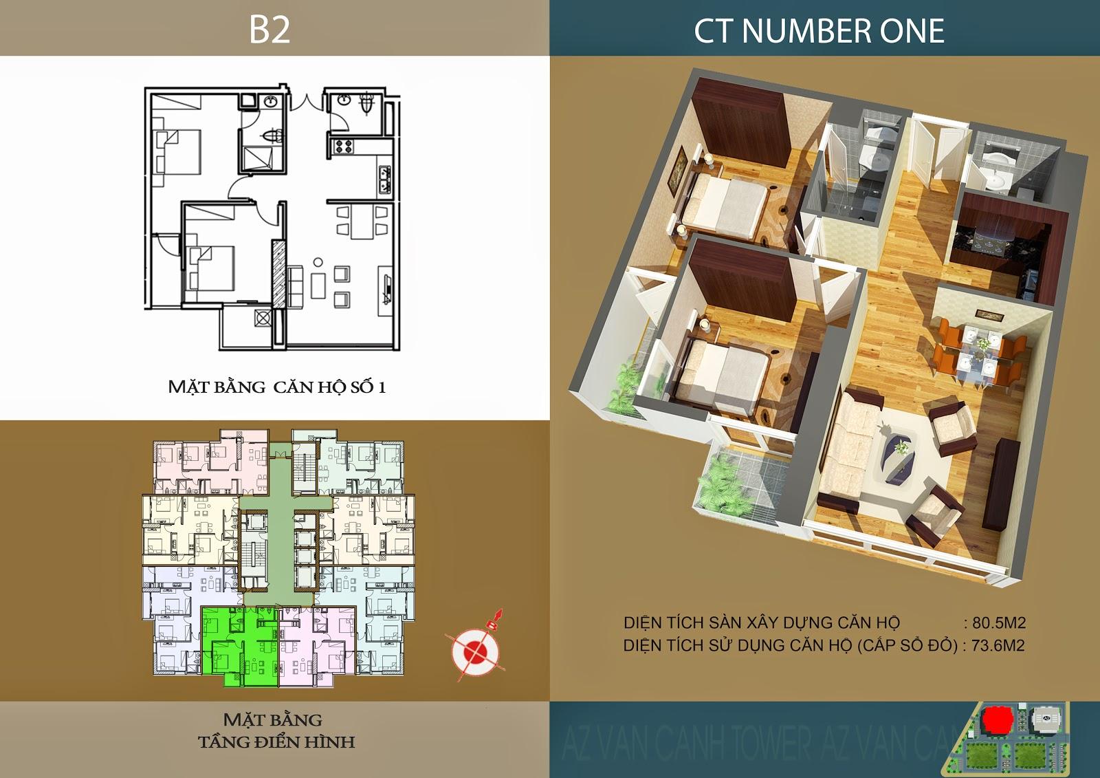 Căn số 1 - Diện tích 80.5m2 tại tòa B2 Chung cư CT Number One