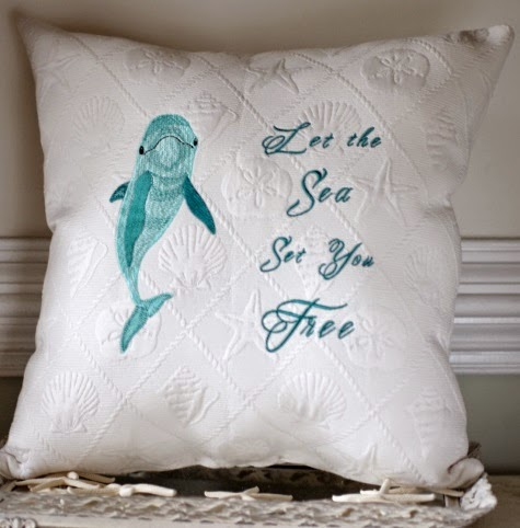 Dolphin Pillow with Quote