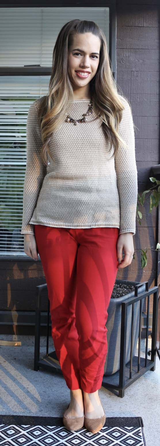 Jules in Flats - J.Crew Factory Camel Sweater & Suede Flats, Old Navy Red Pixie Pants