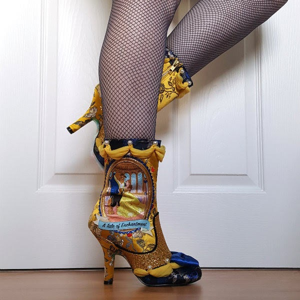 disney beauty and the beast mid calf boots with yellow draping