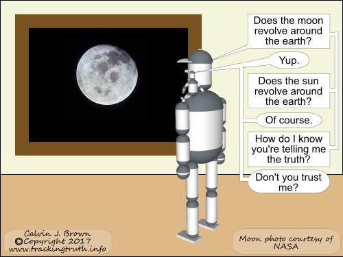 Two robots are looking at the moon and discussing the trustworthiness of sources.