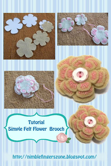 how to make felt flower brooch tutorial