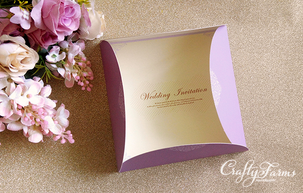 Lilac Purple Die-Cut Pocket Wedding Cards
