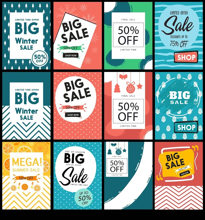 Sales banner templates colored classical decor Free vector