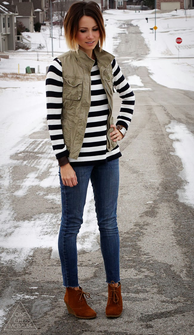 Stripes, vest, cropped denim and ankle boots