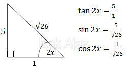 Segitiga trigonometri dari tan 2x untuk menentukan cos 2x