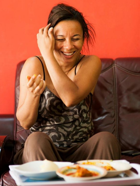 ibinabo eating eba okro soup