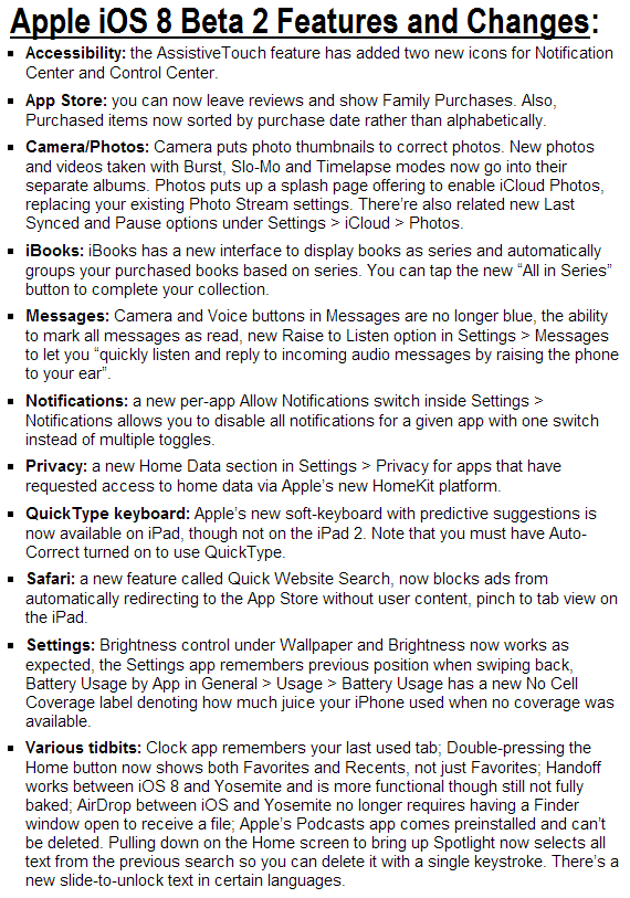 Apple iOS 8 Beta 2 Features and Changes