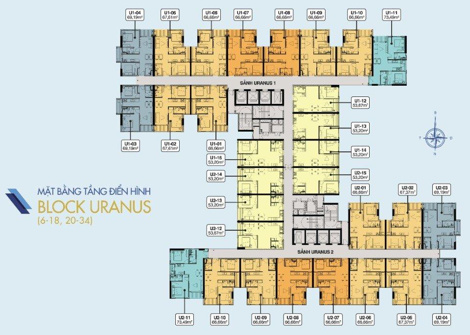 Mặt bằng tầng điển hình block URANUS