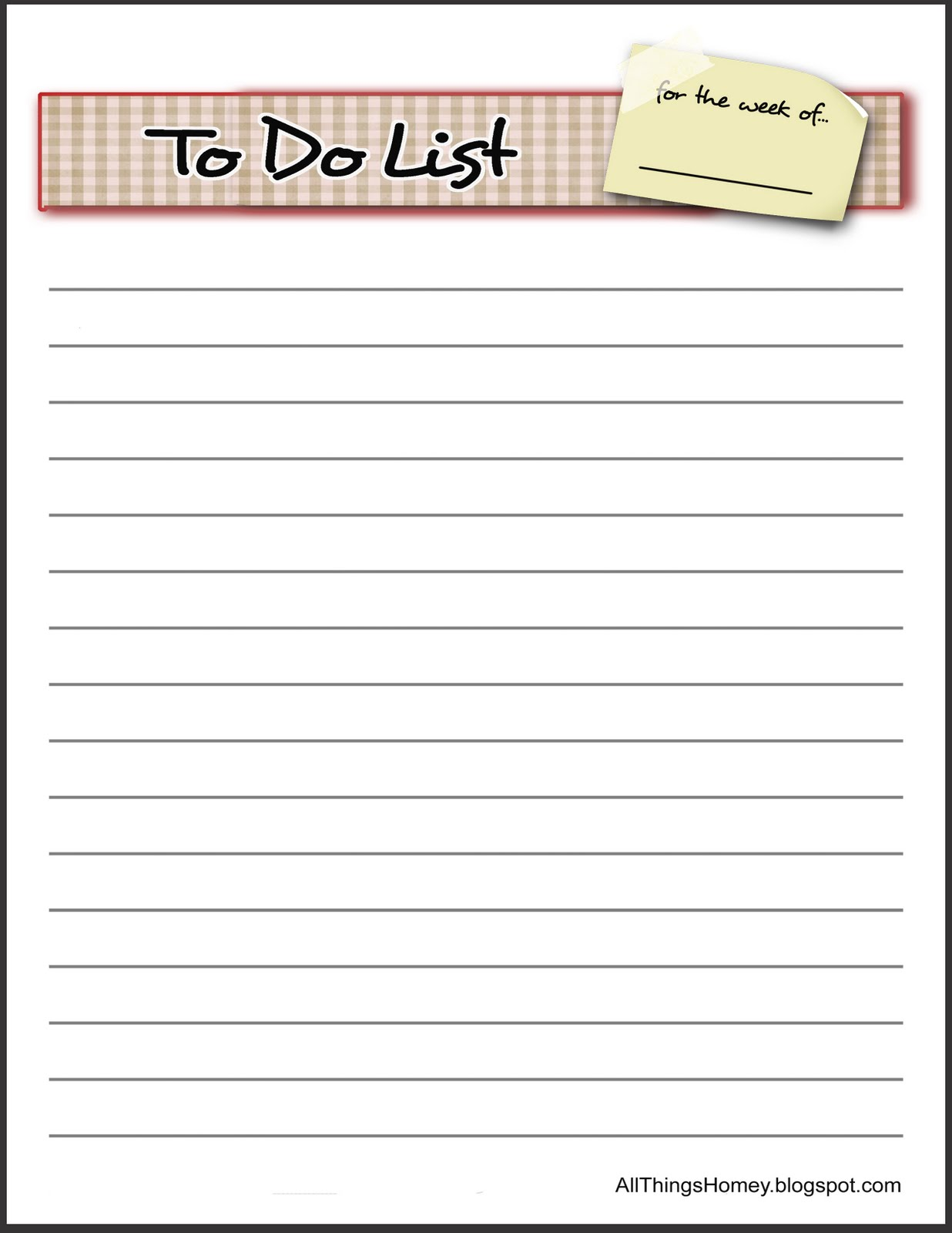 All Things HOMEY: Free ' To Do List' Revised