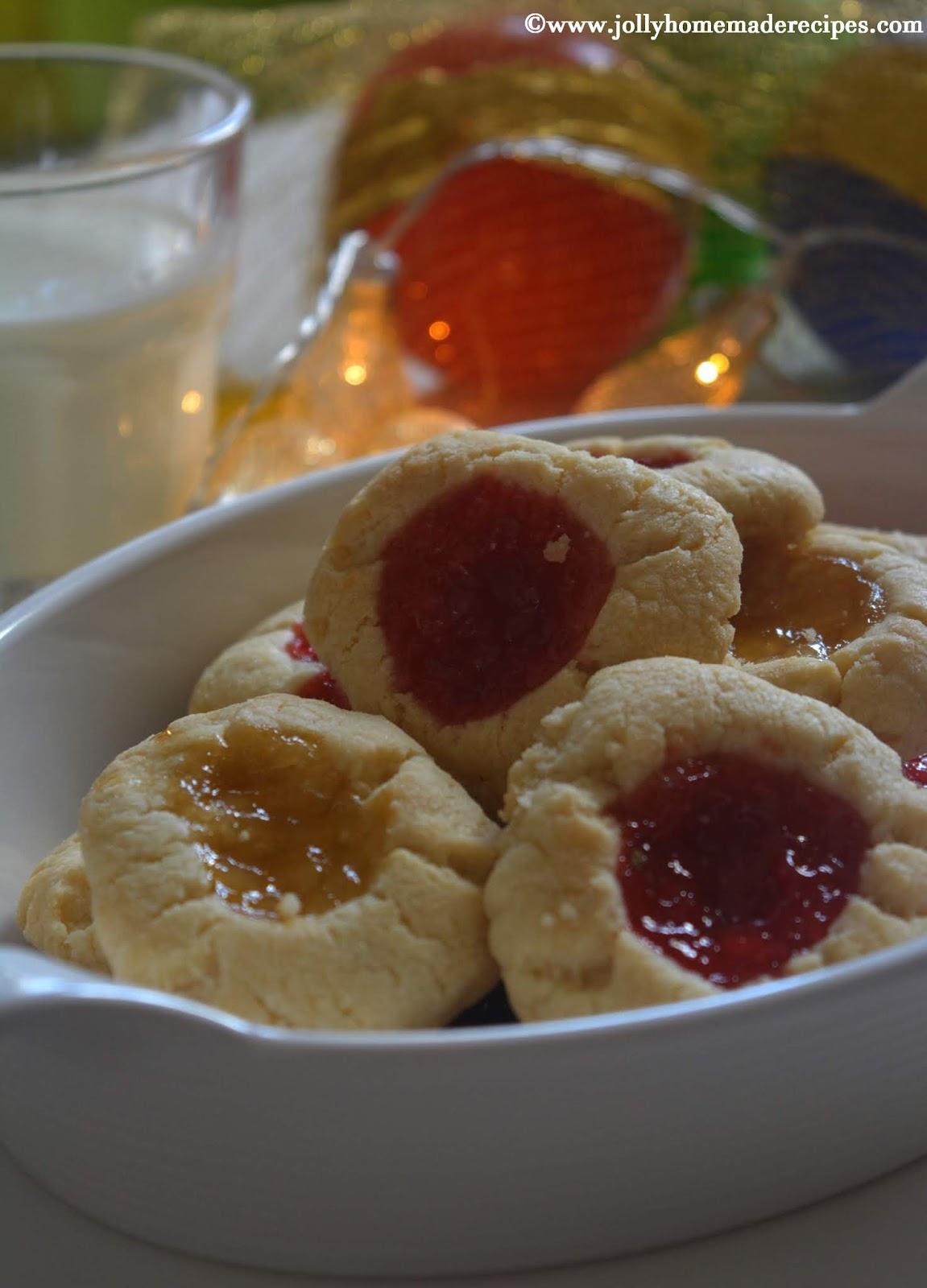 Shortbread Jam Thumbprint Cookies, How to make Jam Thumbprint Cookies | Eggless Thumbprint Cookies