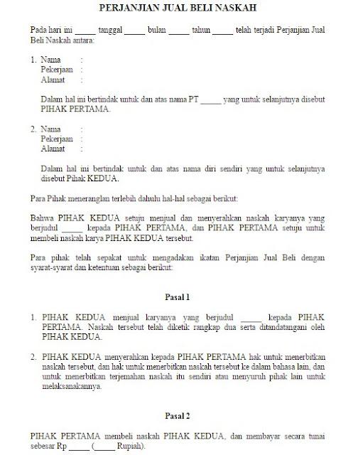 Contoh Surat Perjanjian Jual Beli Naskah Resmi dalam Format Word