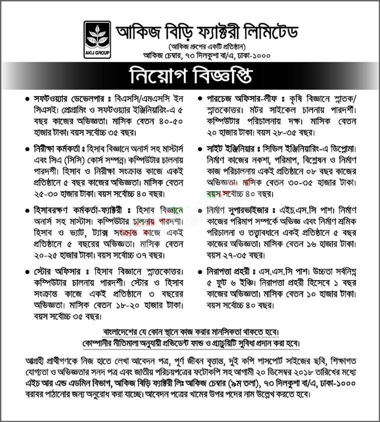Akij Biri Factory Limited Job Circular 2018