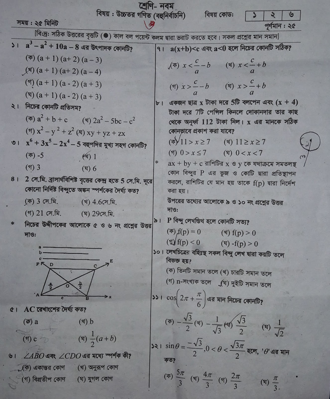 SSC Higher Math Suggestion 2019 With Question Paper