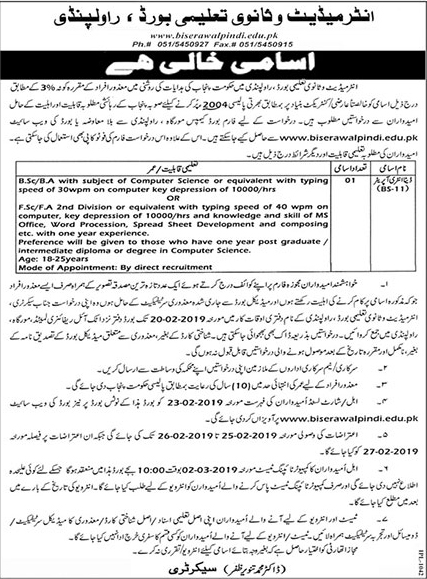 Jobs Vacancies In Elementary And Secondary Education Department 06 February 2019