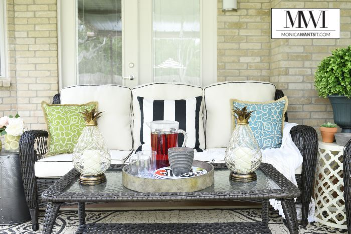 This blogger did a patio makeover that is stunning! The outdoor seating set is perfect and the decor makes the entire space look chic.