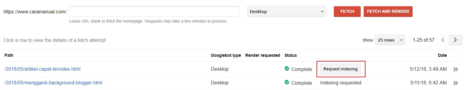 Request Indexing - Search Console