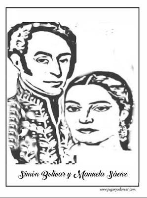 Colorear Bolívar y Manuela