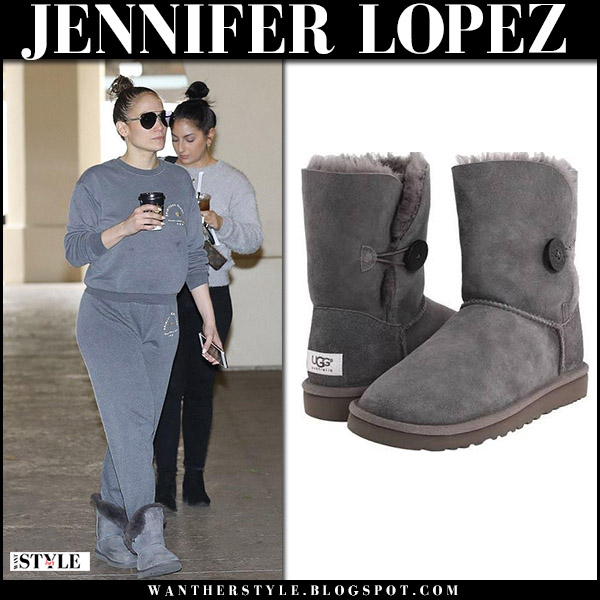 Jennifer Lopez in grey sweatshirt, grey sweatpants and grey boots ugg bailey casual street style january 3