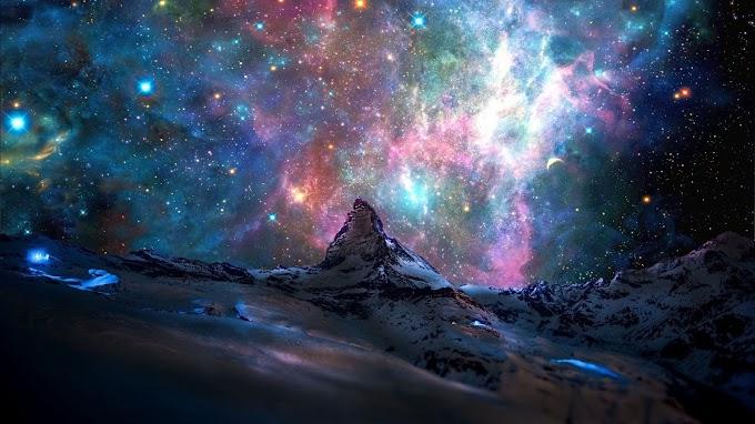Papel de Parede para PC Montanha e Galáxia