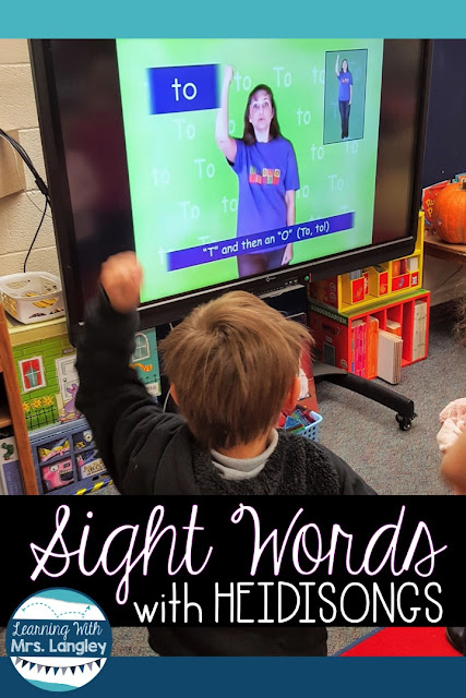 Practicing our sight words has never been easier thanks to Heidisongs! My students love the interactive songs and they especially love when I give them a white board to practice writing them. This quick no prep activity has saved me more than once! #kindergarten #heidisongs #sightwords