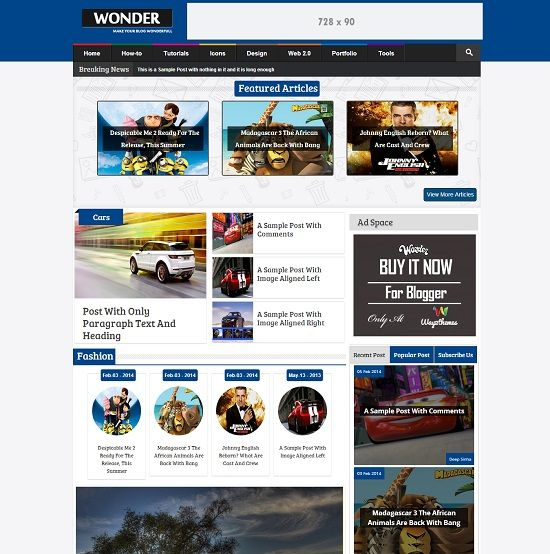 Wonder - Template Blog SEO Responsive untuk Blog Multimedia