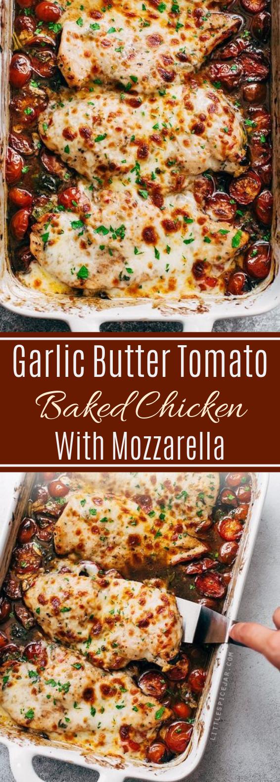 Garlic Butter Tomato Baked Chicken With Mozzarella #dinner #maindish