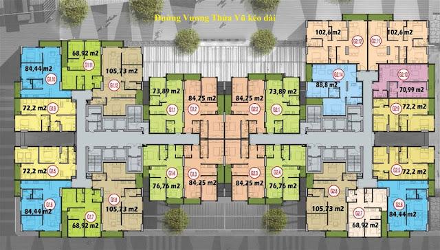 Mặt bằng tầng căn hộ điển hình tòa G1 G2 Five Star Kim Giang