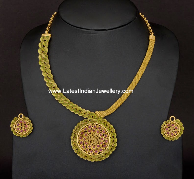 Rhodium Colored Antique Gold Necklace