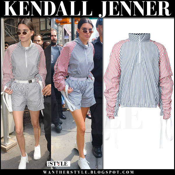 Kendall Jenner in striped zip top and striped shorts private policy july 28 2017 what she wore