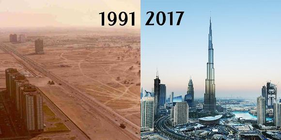 then and now check out photos of dubai in 1991 vs 2017