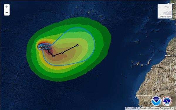 Tormenta tropical Ophelia (Ofelia) se  convertirá en huracán cerca de Canarias