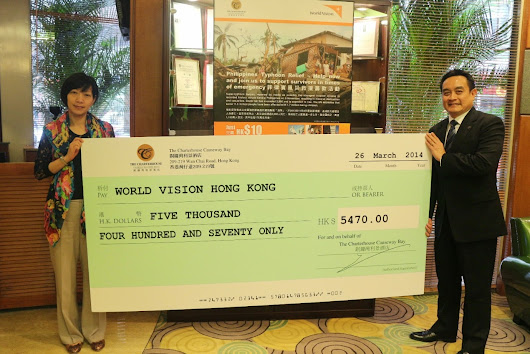 The Charterhouse Causeway Bay raises donation for World Vision Hong Kong to support survivors from Philippines Typhoon Relief Operation
