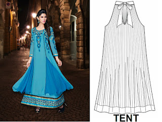 TENT is a loose-fitting dress without waist line, Flares of the dress grows fuller towards outward step by step or from the shoulder to the hem.