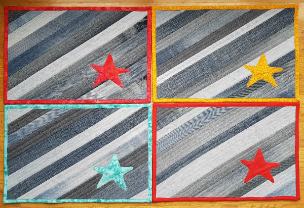 personalized denim placemats | DevotedQuilter.blogspot.com