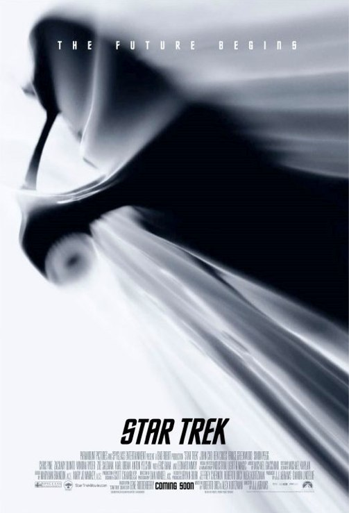 'Star Trek' 2009 poster depicting the Enterprise heading into warp