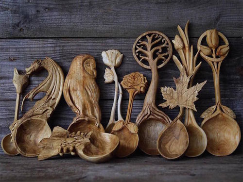 My owl barn spoons carved out of wood by giles newman