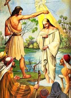 Jesús es bautizado por Juan el Bautista