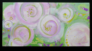 Abstract floral painting, pinks, green and white.