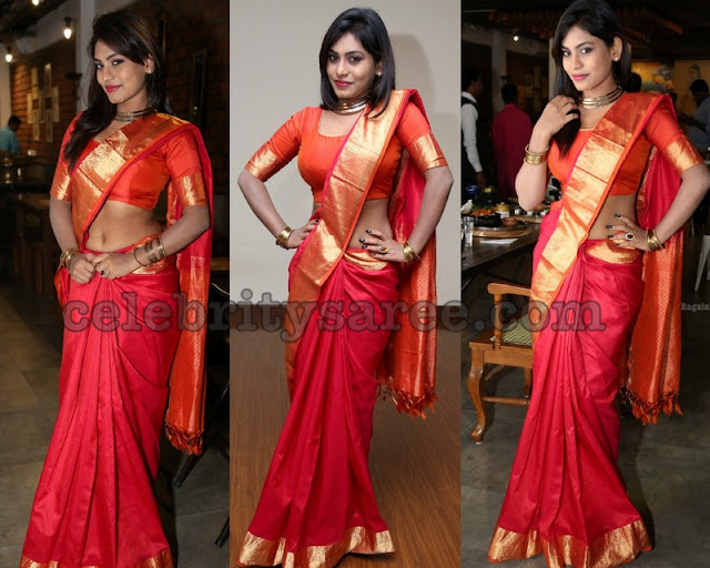 Priyanka Augustin Red Silk Saree