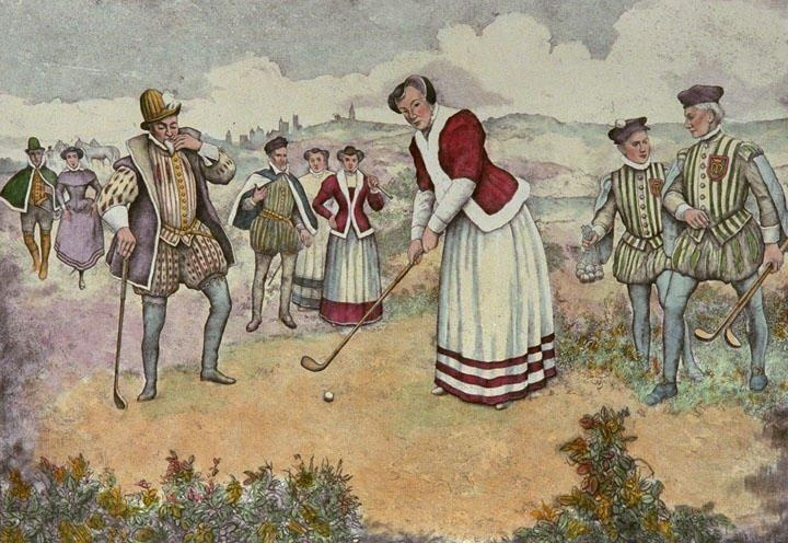 Mary Queen of Scots depicted golfing surrounded by her Caddies or military cadets.  I was in the Olympics? marchmatron.com