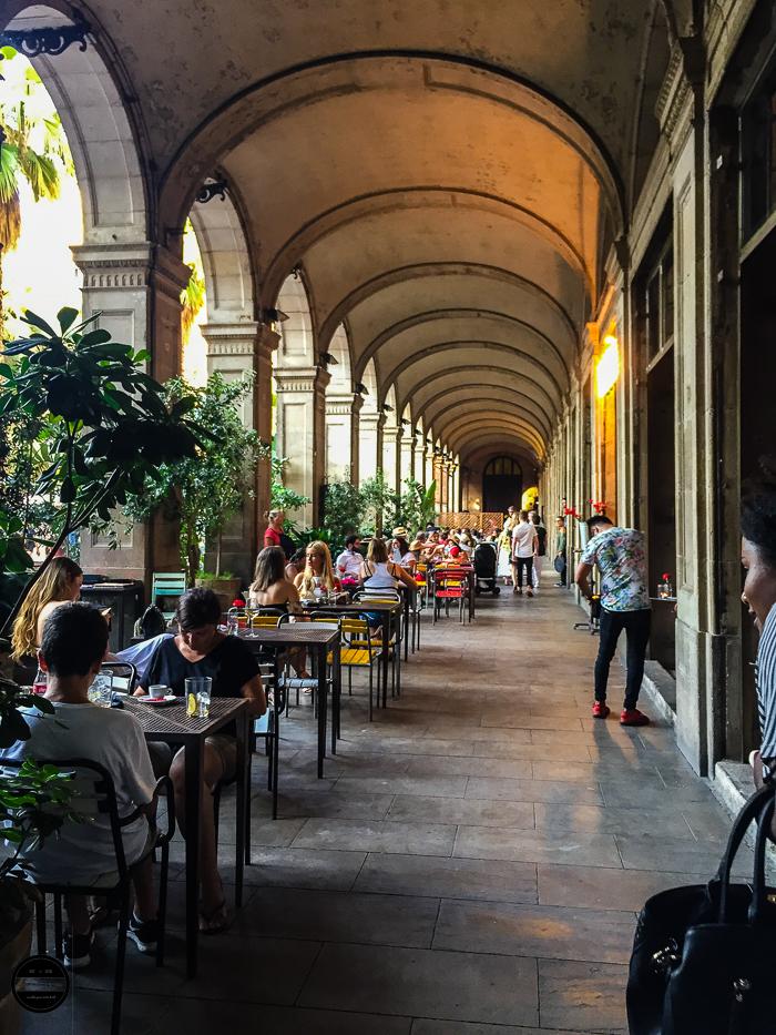 Las Ramblas square dining in Barcelona.