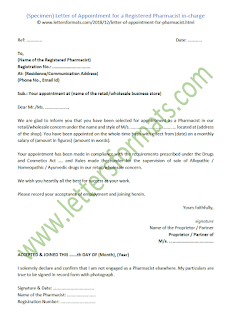 appointment letter of registered pharmacist sample