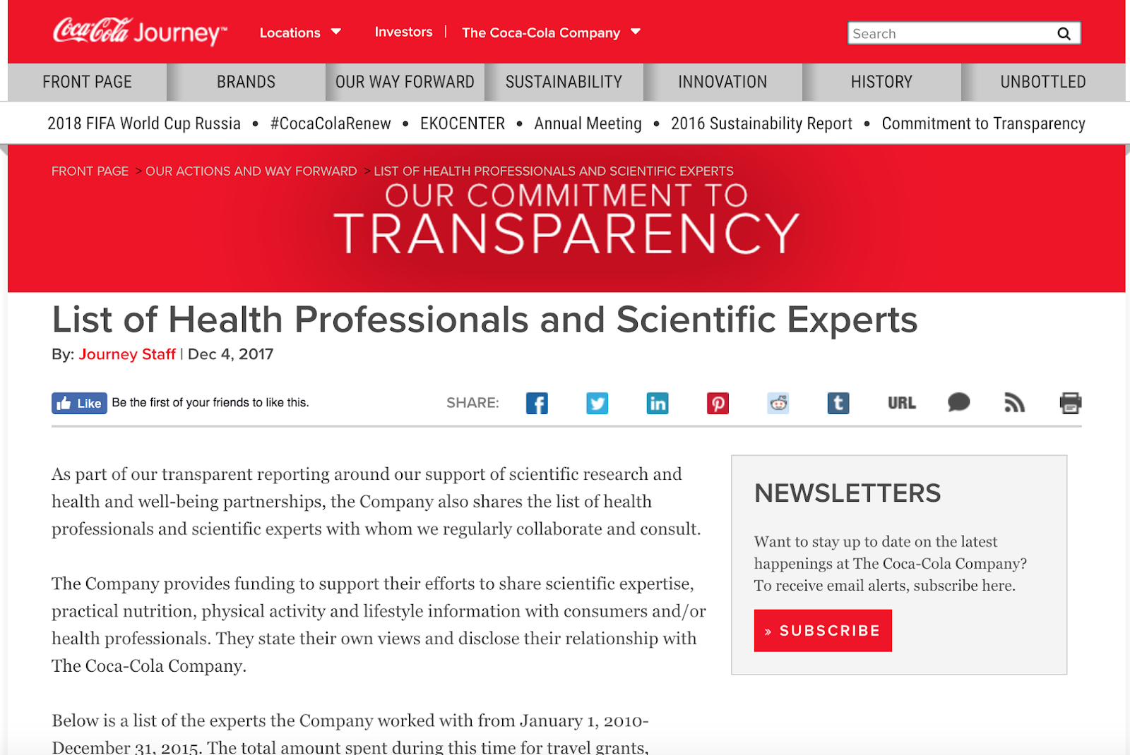 "Guest Post: Coca-Cola's ""Commitment To Transparency"" Fails To Identify Over 95% Of The Authors They've Funded Since 2008"