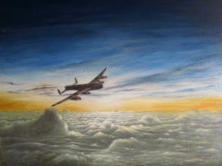 Lancaster bomber over the clouds