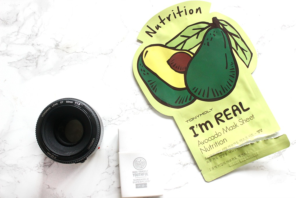 tony moly avocado sheet mask, soap and glory spf 50, yongnuo 50mm lens canon 50mm lens