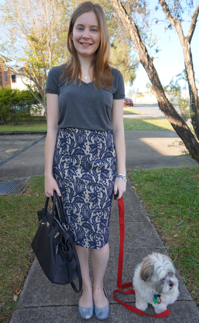 away from blue grey tee blue lace pencil skirt