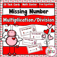 Multiplication and Division Equal Equations for Valentines!
