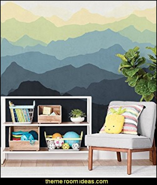 Mountain Mural Wall Art Wallpaper Swiss alps decoration Alpine theme decorating - adventure bedroom design ideas - ski alps wall decal stickers - Swiss chalet mountain ski lodge murals weather themed bedroom decorating